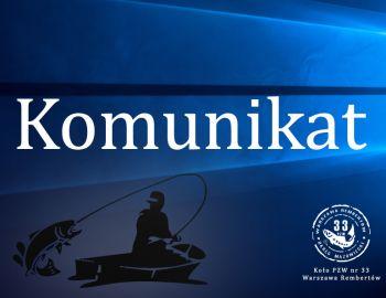 Komunikat - dot. organizacji zawodów wędkarskich